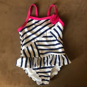 VGUC Gymboree navy/white swimsuit with pink size 5